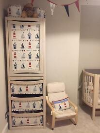 Complete custom/bespoke nursery furniture set (Fryetts Maritime Blue fabric)