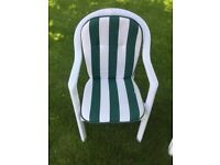 4 White Garden Chairs with Cushions