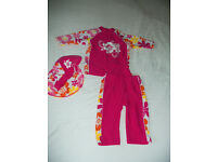 girls age 5 tu uv set hat top shorts swim water wear worn once collect kirkintilloch swimming