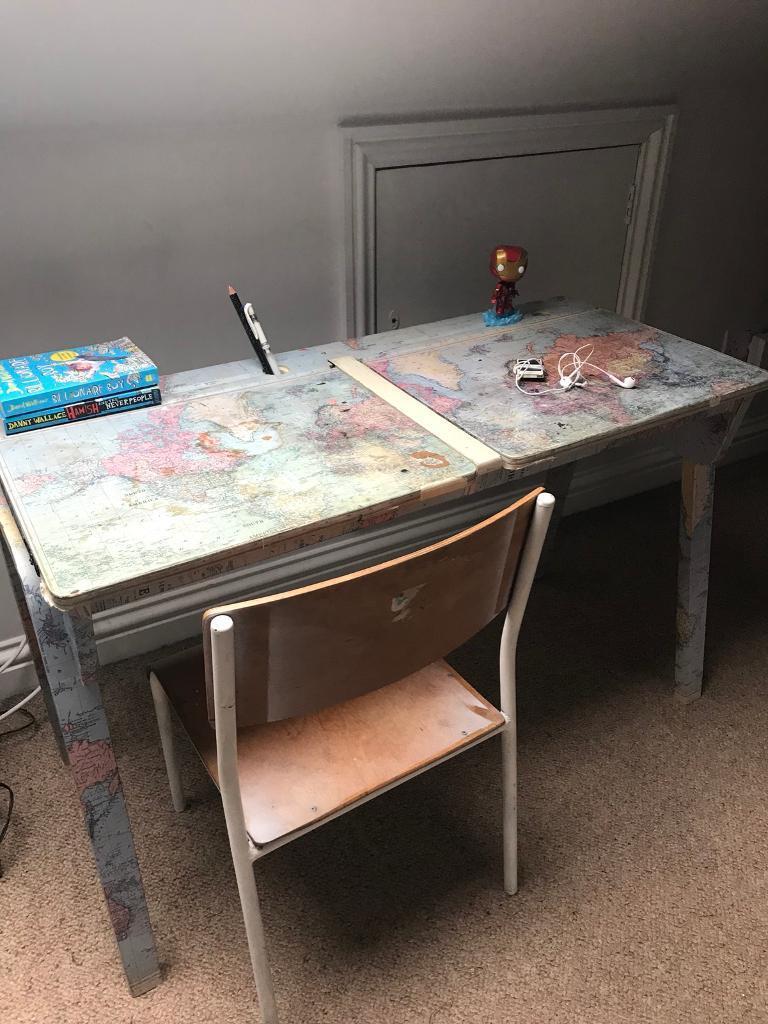 kids Vintage double desk with flip top storage