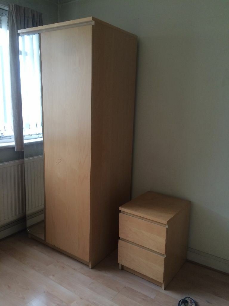 Ikea Malm Bedroom set: Wardrobe, chest of drawers, bedside cabinet (1)