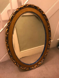 Oval mirror antique vintage Art Noveau. Original bevelled edge mirror glass. REDUCED BY £20