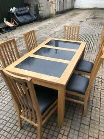 Light Oak Table & 6 Chairs