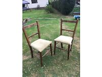 oak wooden chairs with covered seats