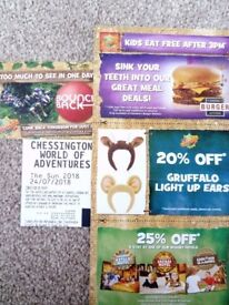 4x Chessington theme park tickets for 24th July 2018