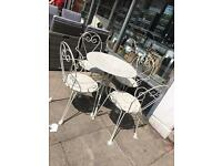 Shabby Chic Metal Heart Shape Table & Four Chairs