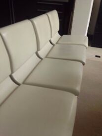 STUNNING set of 2 or 4 designer leather swivel dining or desk chairs