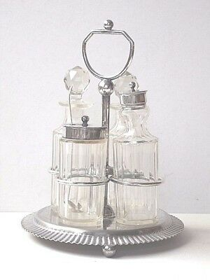ENGLISH CONDIMENT SET GLASS BOTTLES SILVER PLATED FRAME SALT PEPPER  BUN FEET