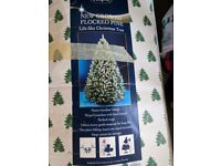 1.95m Festive Artificial Flocked Pine Christmas Tree in immaculate condition
