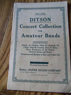 DRUMS DITSON CONCERT COLLECTIONS FOR AMATEUR BANDS 1914