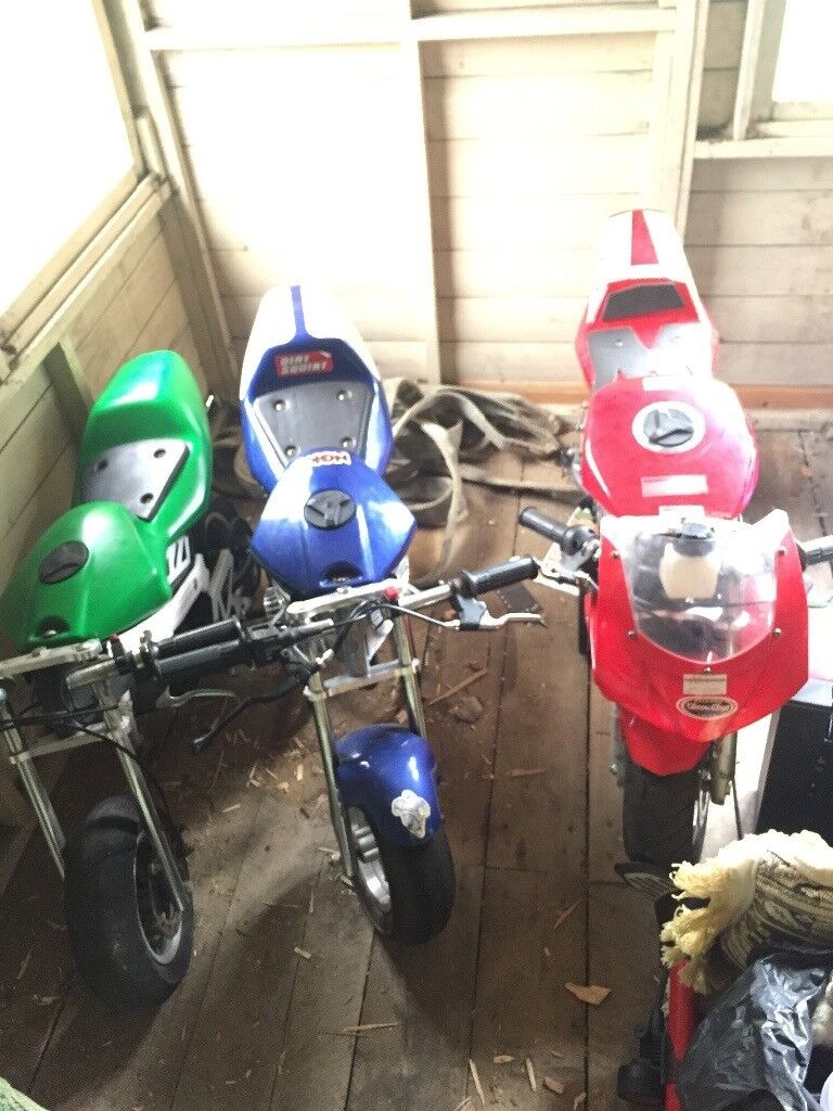 Two air cooled, two water cooled Mini Motos!