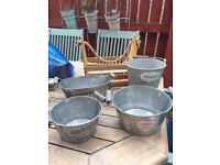 Wooden trug and planters
