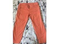 Jane Norman cropped coral trousers size 16