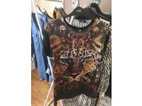 Ladies Tiger Print Top Size 10. River island