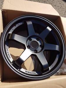 Te37 style 17x7.5 5x114.3 +40 Matt Black in stock 3 set $500 or $860 w tire package