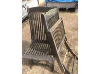 2 hardwood folding chairs