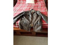 mens brown leather jacket xxl