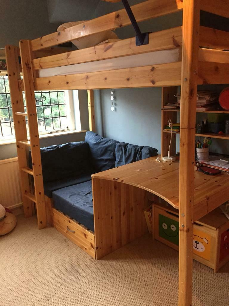 High Rise Bed With Desk And Futon