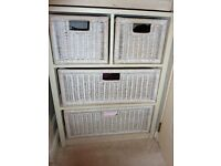 CREAM CHEST OF DRAWERS WITH 2 + 2 WICKER DRAWERS - HAVE TWO AVAILABLE