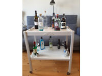 Two-tiered upcycled retro vintage wooden drinks/tea trolley, early to mid-20th century