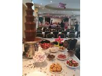 Chocolate fountain £100. Special offer- Chair cover with sash 70p, Table cloth only £4. All for hire