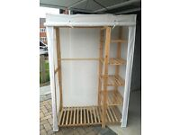 Large pine canvas wardrobe with shelving £25