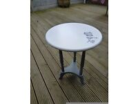Up cycled side table... Grey and White Chalk paint