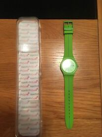 SWATCH WATCH, ADULTS, BRIGHT GREEN WITH THIN BLUE LINE IN MIDDLE OF STRAP