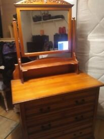 Beautiful wooden dressing table with mirror and 3 drawers