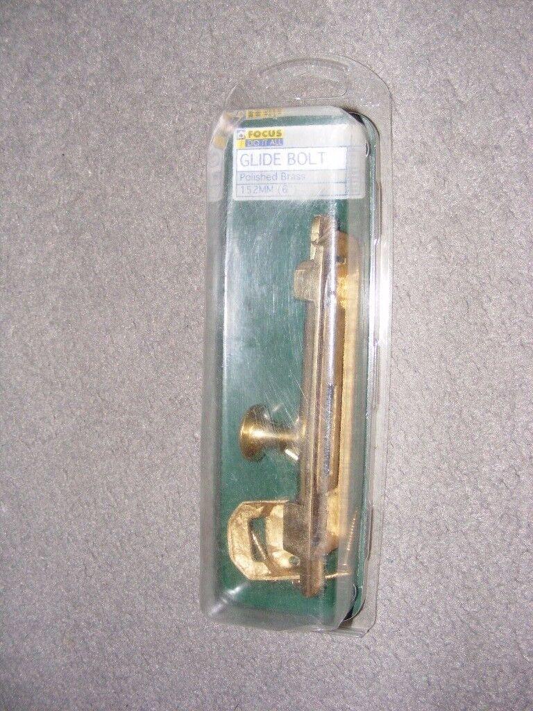 """A NEW 6"""" Polished Brass Glide Bolt"""