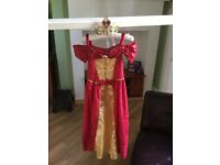 Disney Belle Red Dress And Crown Age 7-8 years