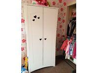 Girls white wooden wardrobe