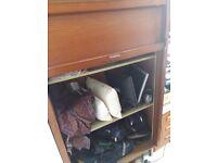 Vintage wood veneer roll front storage cabinet