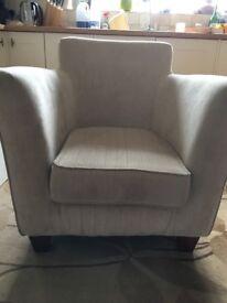 Arm chair, bucket style mushroom colour