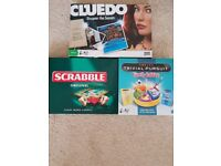 board game bundle scrabble, trivia pursuit and cluedo