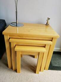 Solid pine nest of 3 tables from John Lewis