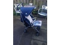 Maclaren pushchair/buggy/stroller with raincover and cosy toes.