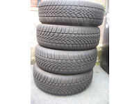4 Dunlop Winter Tyres 185/55R15 (used) 7mm tread