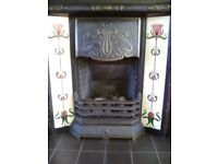 Lovely cast iron fire surround with tiles