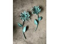 Turquoise flower metal wall art