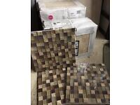 Travertine style ceramic and mosaic tiles