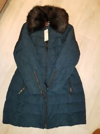 Womens per une size 18 turqouise coat with fur