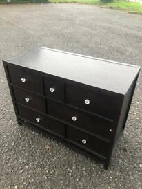 Solid Wood Dark Brown Chest of 3 Drawers