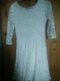 Fitted white lace dress size 8, very good condition