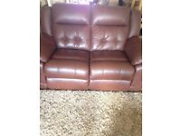 Set of 3 brown real leather sofa's. COLLECTION ONLY. CASH ONLY. Reclining lazy boys
