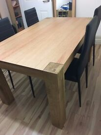 Large Light wood Dining Table & four Chairs Set Heart of House Alston Argos