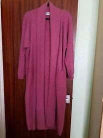 Ladies Brora scottish pink pure cashmere long cardigan