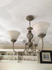 Centre light fitting 2 matching antique brass effect