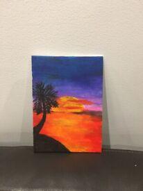 Beautiful sunset painting on canvas