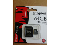 GENUINE KINGSTON 64GB CLASS 10 MICRO SDHC MEMORY CARD WITH SD ADAPTER HC UHS 1 (Min Order 5pcs)